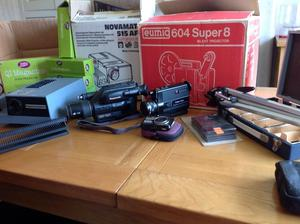 Photographic equipment slide & film projector slide cases 2 x video camera 1 digital camera 1 tripod
