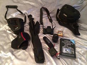 Canon camera 600D + (optional: x2 camera cases, tripod, rode shotgun microphone)