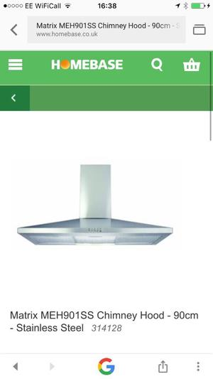 Matrix Stainless Steel Chimney Cooker Hood 90cm New and Unused