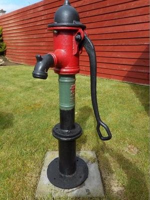 Antique small cowtail pump working posot class for Garden water pump