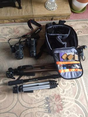 Set of cameras and accessories.