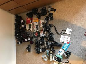 Minolta, Pentax, canon, takumar,Old vintage cameras,lots, plus accessories lenses cover flash