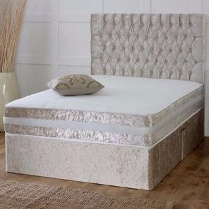 BRAND NEW SINGLE,DOUBLE AND KING SIZE---CRUSHED VELVET DIVAN BED BASE-- AVAILABLE WITH MATTRESS ALSO