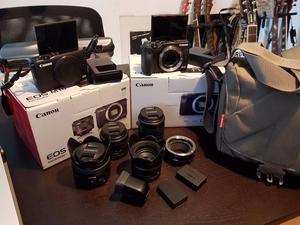 Canon EOS M3 & M10 w/ 4 Lenses & Accessories