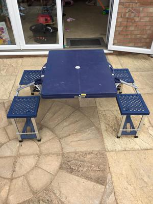 Folding Blue Picnic Camping Fold Away Bench Table and Chair Set