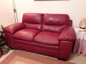 2 two seater sofas red leather