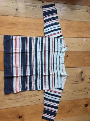 Seasalt button back fine knot striped jumper size 10