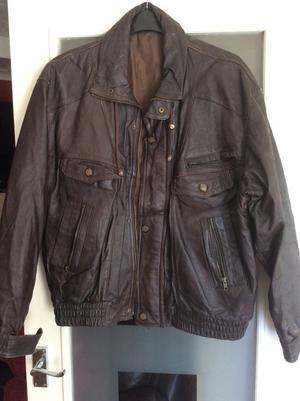 Men's dark brown leather jacket size XL
