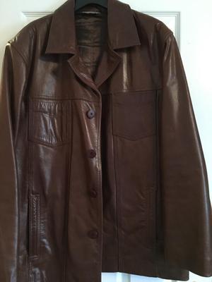 Brown men's leather jacket size XL