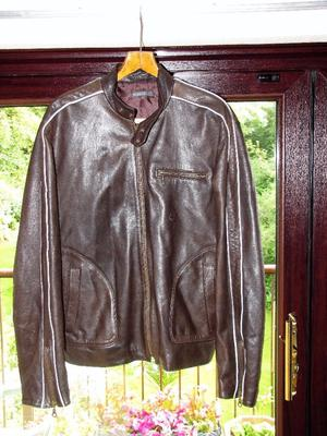Real leather casual jacket