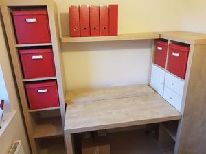 ikea desk and storage combination with shelves oak effect