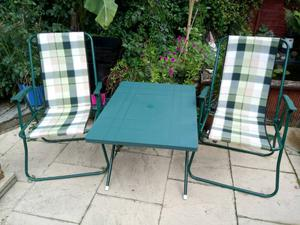 Camping table and two chairs