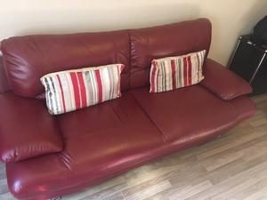 Two Red Leather Sofas for only £300