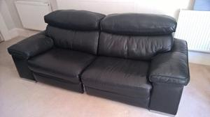 Very large 4 seater black leather sofa with chaise plus matching 3 seater electric reclining sofa