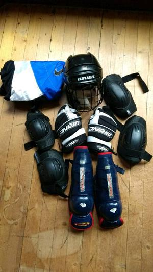Ice hockey / roller hockey pads. Helmet, knee elbow pads, gloves, shin pads, trousers