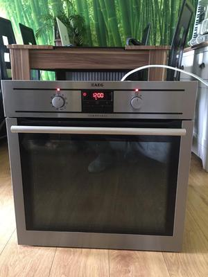 AEG stainless steel Built in single oven with own cable,