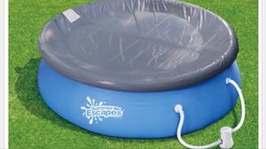 Summer Escapes 10ft QuQuick Set Ring Pool + Water Filter Pump + Cover