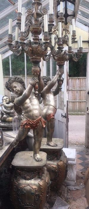 Unusual Pair Of Metal/Gilt Cherub Statues With Candelabra 8 Feet Tall!