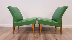 Cool pair of angled retro lounge chairs in forest green 60s 70s mid-century
