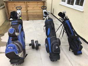 Various Golf Clubs with Bags, Trollies and Accessories