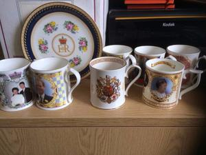 Vintage Royal commemorative mugs and fine bone china plate