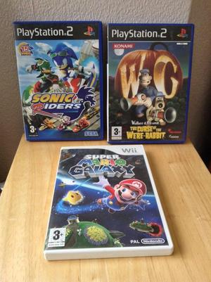 Super Mario Galaxy Wii game, Wallace & Gromit PS2 game & Sonic Riders PS2 game