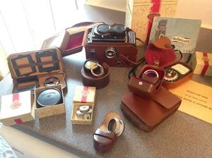 Vintage Rolleicord Va camera and accessories