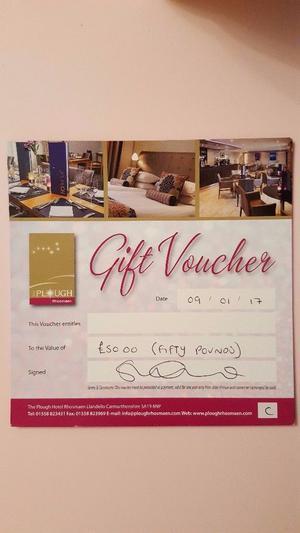 5 x £) Restaurant Gift Vouchers For The Plough Inn, Rhosmaen, Carmarthenshire