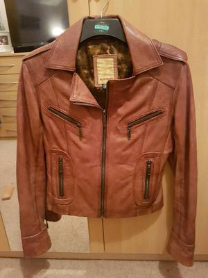 Women's authentic brown leather jacket