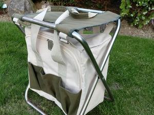 Folding stool with rucksack