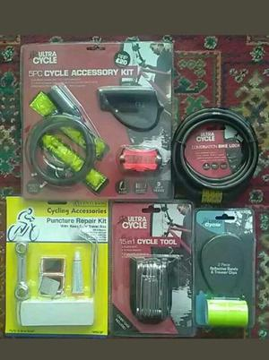 MEGA CYCLING ACCESSORIES BUNDLE COMBINATION LOCK 15-1-CYCLE TOOL BIKE LIGHTS RRP £30