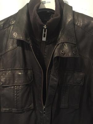 Mans large dark brown leather jacket BURTONS
