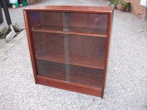 "LOVELY ""GIBBS"" SOLID WOODEN VINTAGE SLIDING GLASS FRONTED BOOKSELVES"