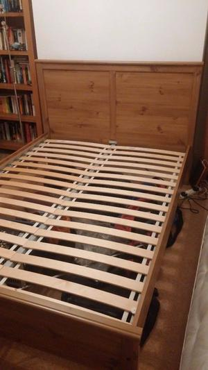 Ikea 'Sultan' double bed frame (including headboard)