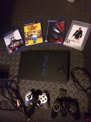 ps2 with games and 2 controllers and memory card