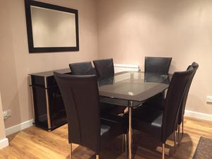 Dining Table & chairs, cabinet and mirror set.