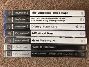 PS2 PLAYSTATION 2 GAMES BUNDLE 7 GAMES WITH BOXES Gran Turismo WRC II WRC 3 Simpsons Disney cars MX