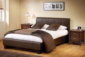 DOUBLE LEATHER BED AND MATTRESS & STORAGE FAST FREE DELIVERY UEUBUCD