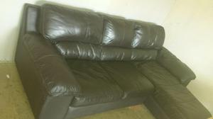 Dfs leather sofa with chaise and armchair, leather settee,