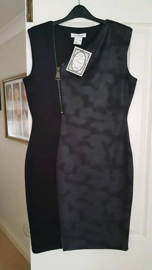 BLACK DRESS WITH LEATHER LOOK