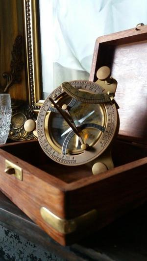 Vintage sundial with compass gift boxed