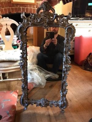 Black/grey ornate mirror