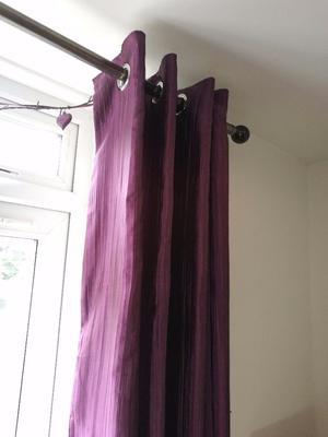 Dunelm mill purple crushed satin curtains