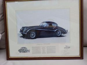 Jaguar Car Print Limited edition signed by artist and Sterling Moss