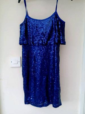 Blue sequinned dress - size s £1.