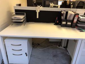 Large White Office desks £50 each- Matching filing cabinets (7 Available) May be sold separately!
