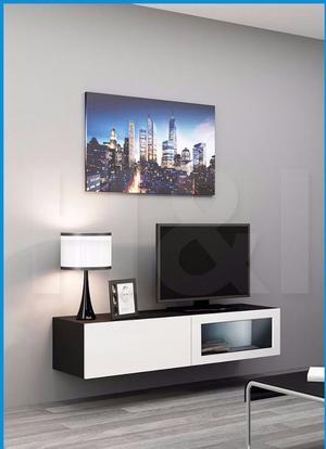 NEW IN BOX VIGO WALL MOUNTED TV UNIT WHITE/BLACK GLOSS 140cm