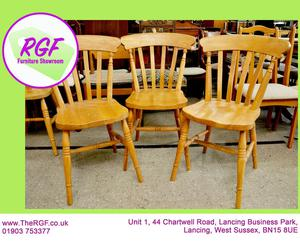 SALE NOW ON!! - Set Of 3 Solid Pine Dining Chairs - Local