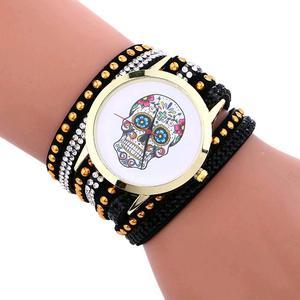 Skull candy Leather Bracelet Wrist Watch
