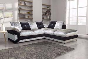 CORNER SOFA BLACK AND SILVER BRAND NEW FAST DELIVERY 930UBCUBDDCU